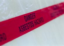Asbestos hazard tape.