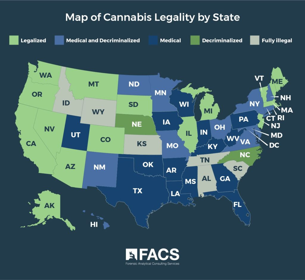 Infographic Map of Cannabis Legality by State