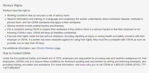 OSHA Workers' Rights Statement